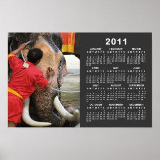 Calendario… Ayutthaya de Bathtime 2011 del elefant Póster