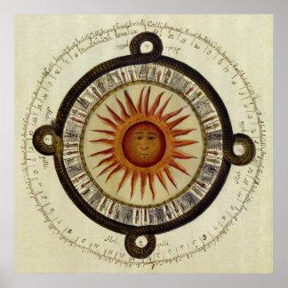 Calendario azteca antiguo de Sun de Mesoamerica Impresiones