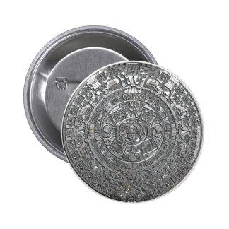 Calendario azteca de plata pin redondo de 2 pulgadas