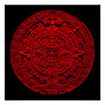 Calendario azteca (en rojo) poster