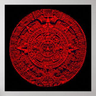 Calendario azteca (en rojo) póster