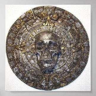 Calendario azteca maya con el poster del cráneo