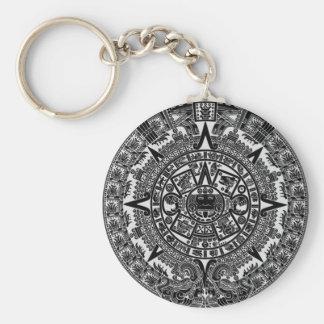 Calendario azteca maya Dec.21 (negro), 2012 Llavero Redondo Tipo Pin