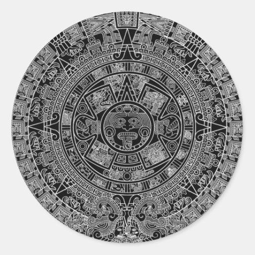 Calendario azteca maya (negro) 12.21.2012 pegatina redonda
