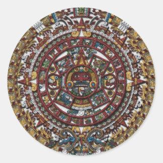 Calendario azteca pegatina redonda