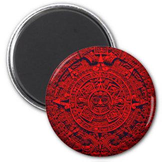 Calendario azteca - rojo imán redondo 5 cm