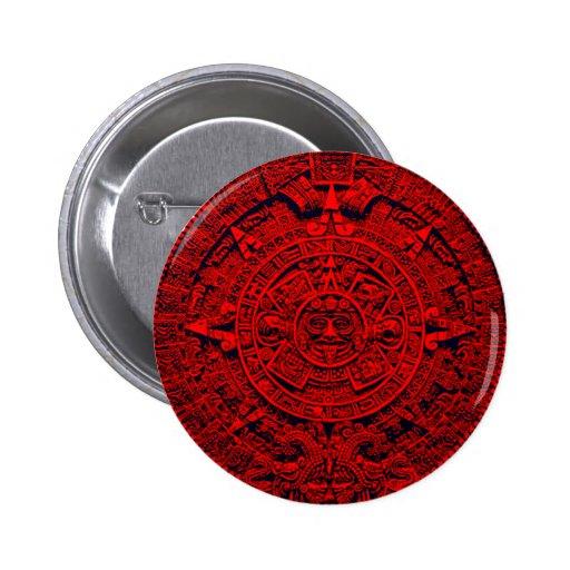 Calendario azteca - rojo pin redondo de 2 pulgadas