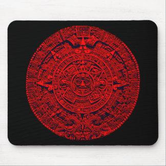 Calendario azteca - rojo tapete de ratón