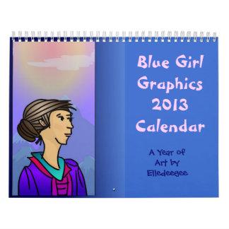 Calendario azul 2013 del arte de los gráficos del