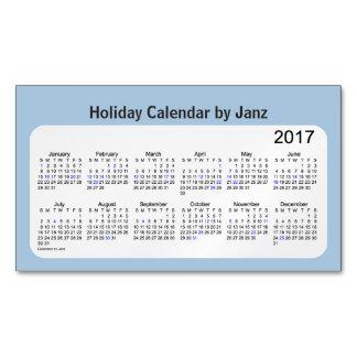 Calendario azul 2017 del día de fiesta del tarjetas de visita magnéticas (paquete de 25)