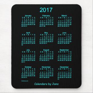 Calendario azul de neón 2017 por el cojín de ratón mousepads