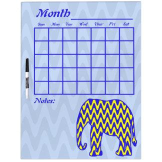 Calendario azul y amarillo del elefante del zigzag pizarras