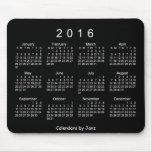 Calendario blanco de neón 2016 por el cojín de alfombrilla de ratón