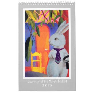 Calendario blanco del conejo 2015 para los amantes
