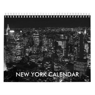 Calendario blanco negro de New York City 2017