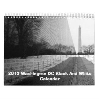 Calendario blanco y negro 2013 del Washington DC