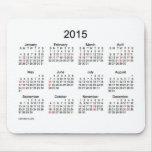 Calendario blanco y negro 2015 con días de fiesta alfombrilla de ratones