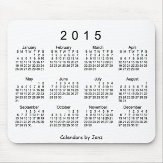 Calendario blanco y negro 2015 por el cojín de mouse pad