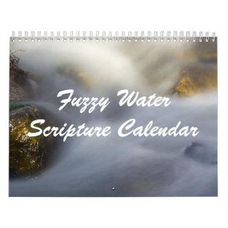 Calendario borroso de la escritura del agua