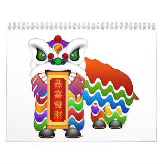 Calendario chino de la danza de león del Año Nuevo