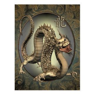 Calendario chino del dragón 2012 del vintage tarjetas postales