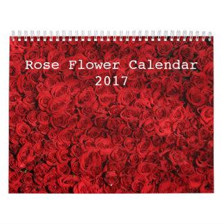 Calendario color de rosa colorido de la flor 2017