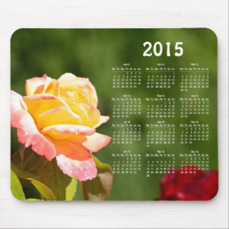 Calendario color de rosa hermoso 2015 alfombrilla de raton