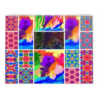 Calendario coloreado arco iris de los marcadores