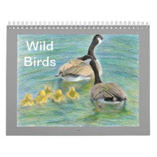 Calendario coloreado pájaros salvajes de las