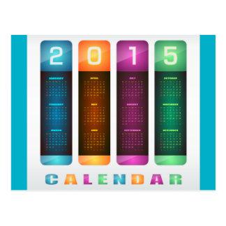 Calendario colorido 2015 elegantes tarjeta postal