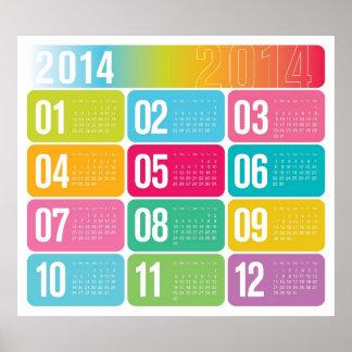 Calendario colorido anual 2014 póster