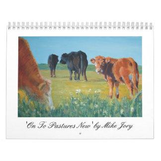 Calendario colorido de las pinturas de la vaca