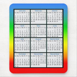 Calendario colorido del Ratón-cojín para 2016 Alfombrillas De Ratones