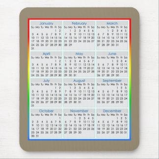 Calendario colorido del Ratón-cojín para 2016 Mouse Pads