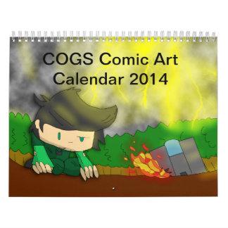 Calendario cómico 2014 del arte de los DIENTES