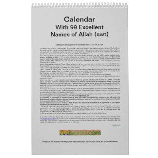 Calendario con 99 nombres de Alá (swt) - dios
