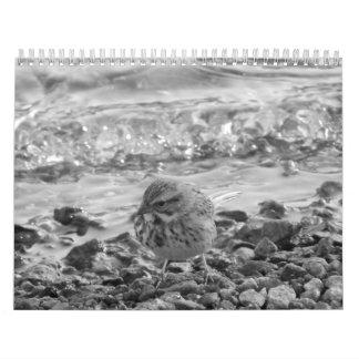 Calendario con fotos de pájaros en blanco y negro calendar