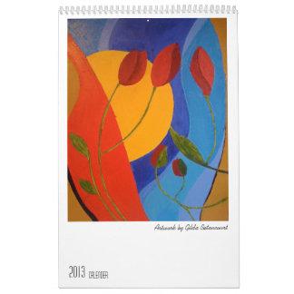 Calendario con las pinturas al óleo abstractas