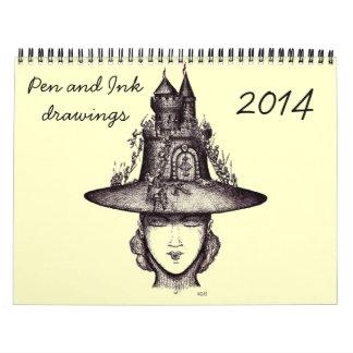 Calendario creativo del arte 2014 del dibujo de la