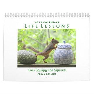 Calendario de 2012 ardillas - lecciones de la vida