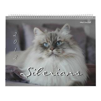 Calendario de 2014 de los siberianos gatos y de lo