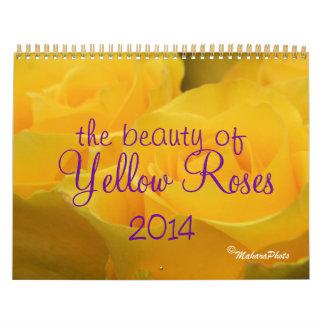 Calendario de 2014 rosas amarillos - AÑO del EDIT