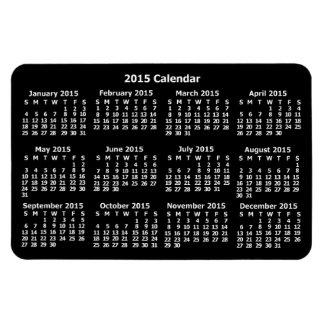 Calendario de 2015 años blanco y negro iman rectangular