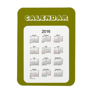 Calendario de 2016 aceitunas por el imán de Janz