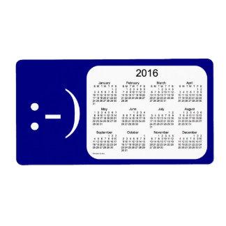 Calendario de 2016 azules marinos por la etiqueta etiqueta de envío