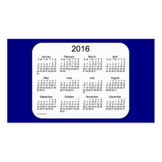 Calendario de 2016 azules marinos por la tarjeta tarjetas de visita