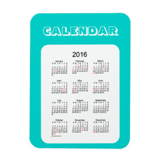 Calendario de 2016 azules turquesas por el imán de