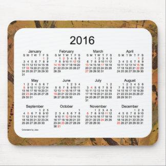 Calendario de 2016 días de fiesta por el cojín de tapetes de raton