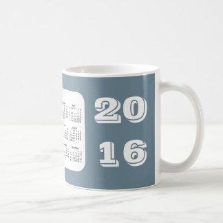 Calendario de 2016 pizarras por la taza de café de