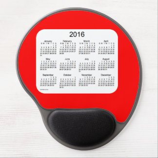 Calendario de 2016 rojos por el gel Mousepad de Alfombrillas Con Gel
